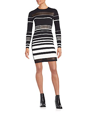 Groovy Striped Long-Sleeve Dress