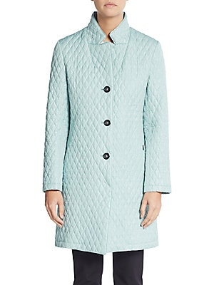 Quilted Three-Quarter Raincoat