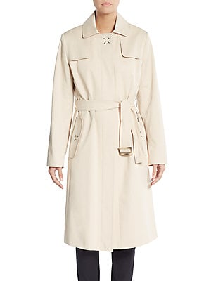 Belted Stretch Cotton Raincoat