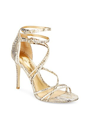 Marlie Strappy Snake-Embossed Metallic Leather Pumps