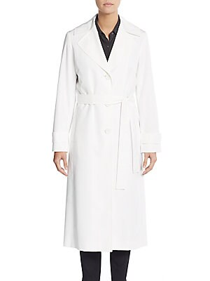 Belted Notch Collar Raincoat
