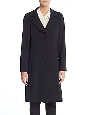 Brocade-Trimmed Wool Coat