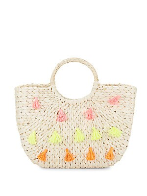 Round Handle Tassel Straw Tote