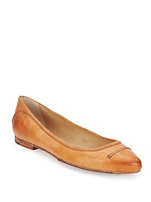 Olive Seam Leather Ballet Flats