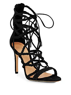 Glenna Braided Suede Lace-Up Sandals