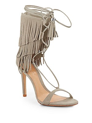 Kija Fringed Suede Lace-Up Sandals