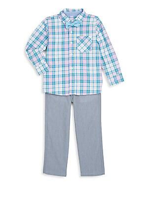 Toddler's & Little Boy's Three-Piece Plaid Shirt, Bow Tie & Pants Set