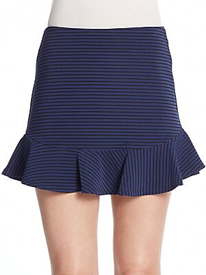Striped Flounce Mini Skirt