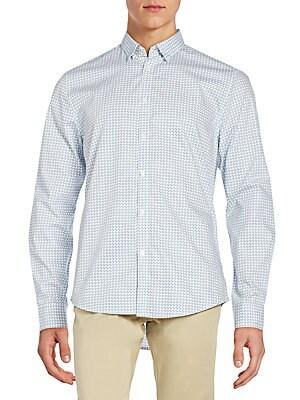 Slim-Fit Geometric-Print Cotton Sportshirt