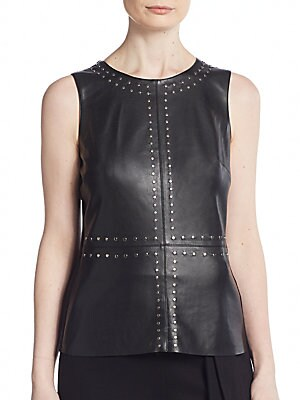 Stevie Embellished Faux Leather Top