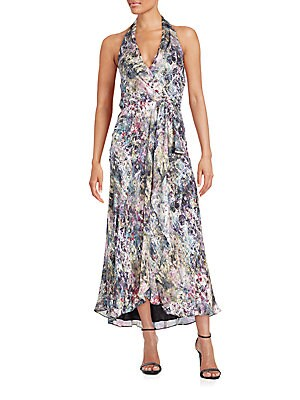 Abstract-Print Silk Faux-Wrap Halter Dress