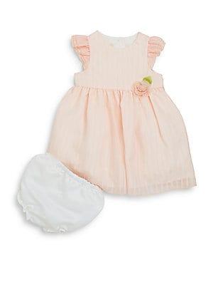 Baby's Sheer-Stripe Dress & Bloomers Set