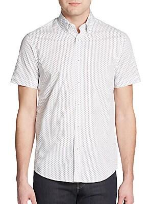 Regular-Fit Guitar-Print Cotton Sportshirt