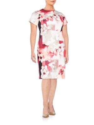 Floral-Print Sheath Dress Calvin Klein Plus