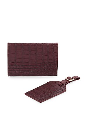 Crocodile-Embossed Faux Leather Passport Case & Luggage Tag Set