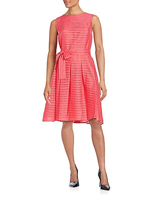 Ribbon Stripe Fit-&-Flare Dress