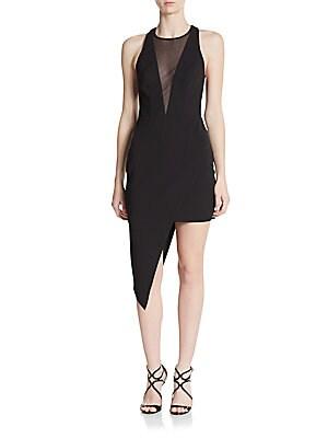 Asymmetrical Mesh-Inset Dress