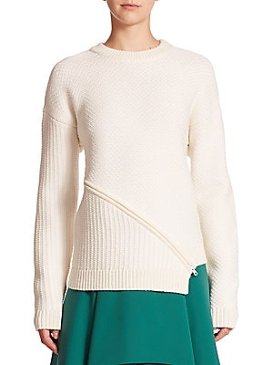 Mixed-Stitch Zip-Front Sweater