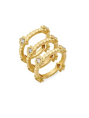 Femme 14K Yellow Gold Vermeil Square Stack Ring Set