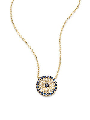 Cubic Zirconia, 18K Gold-Plated & Sterling Silver Pave Disk Pendant Necklace