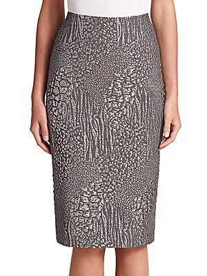 Metallic Leopard Jacquard Pencil Skirt