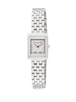 GUCCI G-Frame Diamond, Mother-Of-Pearl & Stainless Steel Watch