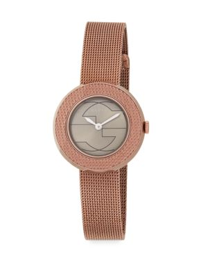 GUCCI U-Play Rose Goldtone Stainless Steel Mesh Watch