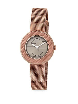 gucci female uplay rose goldtone stainless steel mesh watch