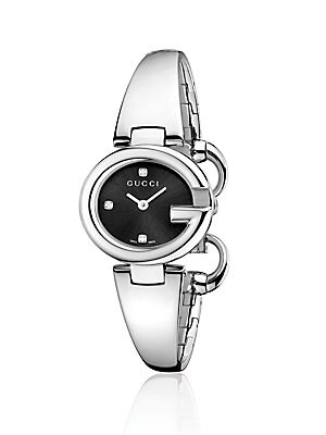 Guccissima Stainless Steel Bangle Bracelet Watch/Black