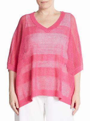 Linen-Blend Mesh Knit Sweater joan vass