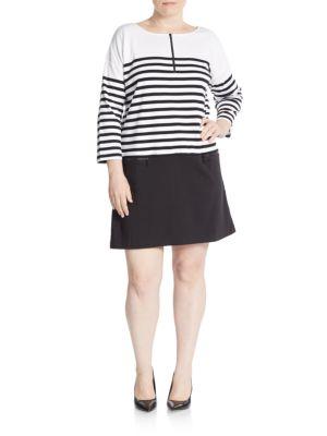 Striped Drop Waist Shift Dress joan vass