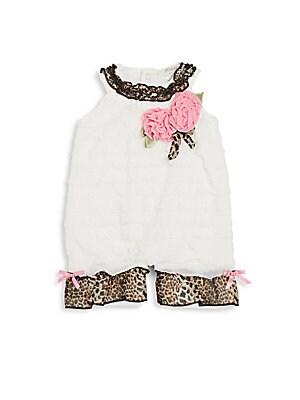 Baby's Tiered Leopard-Trim Rosette Bodysuit