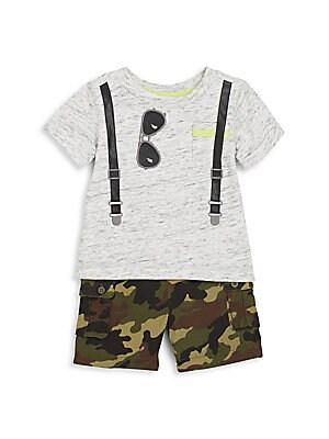 Baby's Graphic Tee & Camo Cargo Shorts Set