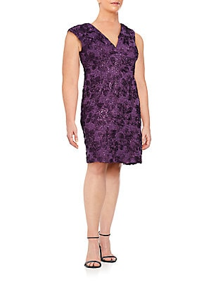Soutache Embroidered Lace Sheath Dress