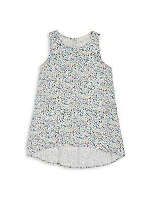 Girl's Floral Print Hi-Lo Tunic