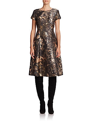 Corey Abstract-Print Satin Dress