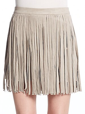 Pearl Fringed Faux Suede Skirt