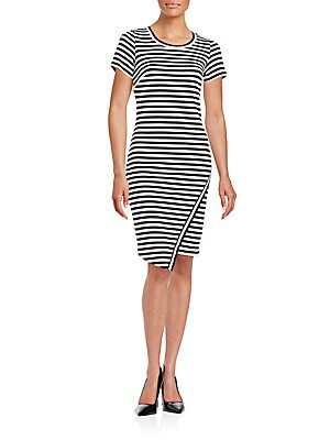Striped Asymmetrical Sheath Dress