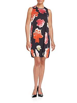 Draped Floral Print Shift Dress