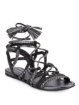 Finlyn Metallic Leather Lace-Up Sandals