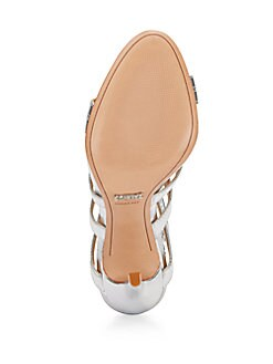 Dubiana Metallic Leather Lace-Up Pumps