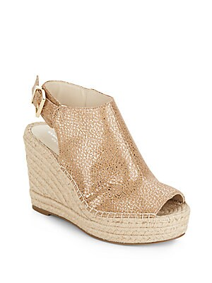 kenneth cole female odette metallic leather espadrille wedge sandals