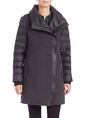 Audrey Leather-Trimmed Puffer