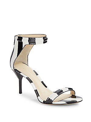 Martine Striped Textured Leather Sandals
