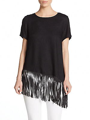 Asymmetrical Fringed Hem Top