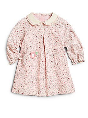 Little Girl's Floral Corduroy Dress