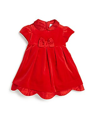 Baby's Silk Dupioni Trim Velvet Dress