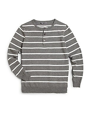 Boy's Long-Sleeve Striped Henley Sweater