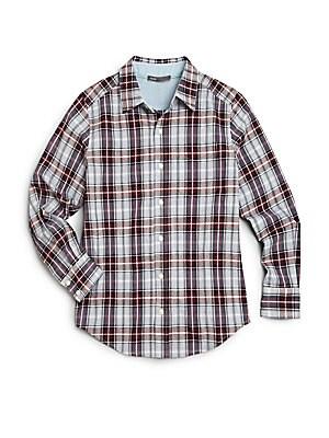 Boy's Plaid Button-Down Shirt