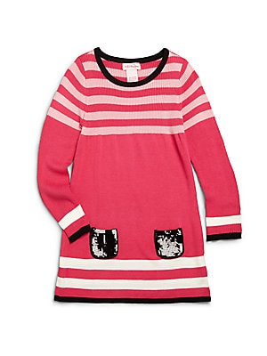 Little Girl's Sequined-Pocket Striped Sweater Dress